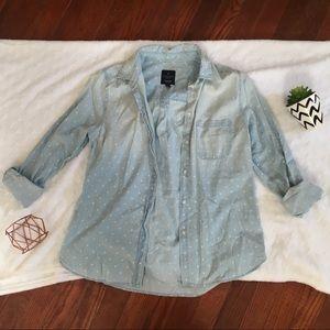 American Eagle Denim Boyfriend Button up Shirt
